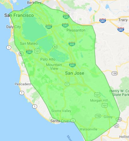 San Francisco Bay area wireless Internet coverage map